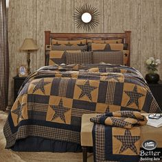 Blue Brown Primitive Plaid Star Rustic Western Country Home Quilt Bedding Set…