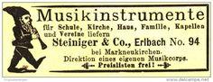 Original-Werbung/ Anzeige 1898 - MUSIKINSTRUMENTE STEINIGER & CO. ERLACH - ca 70 x 25 mm