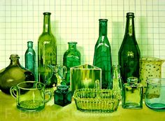 green glass watercolor by fbrownsteele on Etsy