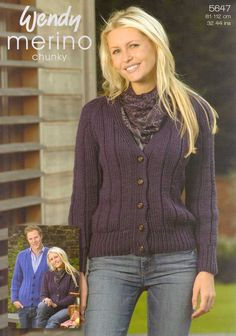 Sale! KNITTING PATTERN WENDY 5647  RIBBED CARDIGAN £1.50