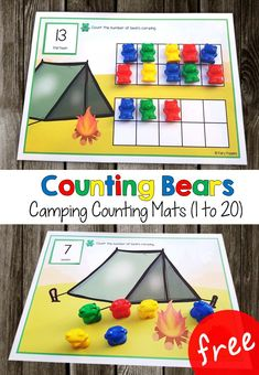 These free camping counting mats can be used with counting bears. They help kids to count from one up to twenty. You can choose between a blank counting mat or a mat with ten frames. They're great for kids in preschool and kindergarten. Counting Bears, Counting For Kids, Skip Counting, Kindergarten Centers, Kindergarten Counting, Preschool Classroom Centers, Maths Eyfs, Math Math, Classroom Games