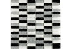 The Glitter Brick B/W/S glass mosaic tile is great for creating the Black and White finish in either your kitchen or bathroom, the soldier effect of the mosaic will give a modern feel to your kitchen. £7.99 per sheet