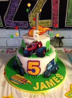 Blaze and the monster machines 3rd gluten free birthday cake for