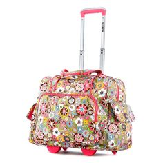 This adorable floral rolling carry-on tote is perfect for young travelers. This versatile piece of luggage features a place for your laptop, two other compartments, sturdy handles for easy carrying, and a retractable handle and four wheels when needed.