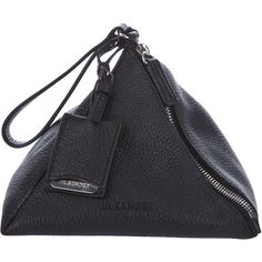 JIL SANDER Leather Pyramid Clutch ($435) ❤ liked on Polyvore featuring bags, handbags, clutches, purses, 100 leather handbags, leather purses, leather handbag purse, leather man bags and man bag