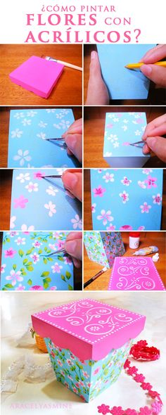 Flores pintado con acrílicos en una caja Candy Stand, Ideas Para, Decoupage, Crafts For Kids, Card Making, Baby Shower, Drawings, How To Make, Painting