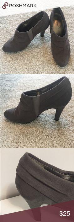 KAREN SCOTT Grey ankle booties Grey ankle length booties. Suede feel. 3.5 in heel. Has elastic on side to help slide them on easier. Good pre-owned condition! Karen Scott Shoes Ankle Boots & Booties