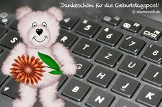 Dankeschön für die Geburtstagspost! Animierte Grußkarte mit Djabbi Bärli vor einer Tastatur