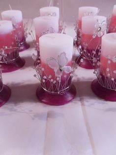 CEREMONIAL PARA 15 AÑOS y DIJES | Pasion por las velas Butterfly Wedding Theme, Butterfly Party, Butterfly Birthday, Homemade Candles, Diy Candles, Pillar Candles, Butterfly Centerpieces, Diy Centerpieces, Sweet 16 Birthday
