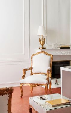 gold & white french chair