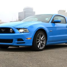 Bubblegum Blue Ford Mustang! Tasty! Uhhhh, that would be Grabber Blue 2013 GT with the Brembo brake package and track pak option!