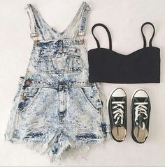 Short overalls summer outfits with converse, hipster outfits for teens, c. Hipster Outfits, Grunge Outfits, Casual Outfits, Casual Dresses, Rock Outfits, Emo Outfits, Girl Outfits, Look Fashion, Teen Fashion