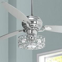 "60"" Spyder Chrome Ceiling Fan with Crystal Discs Light Kit"