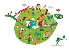 Natsuko Kawatsu / カワツナツコ Natsuko, Cut Paper Illustration, Paper Cutting, Illustrations, Children, Book, Cute, People, Animals