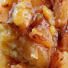 Slow cooker apple pudding cake.Delicious dessert cooked in slow cooker