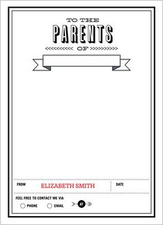 To The Parents 5x7 Notepad via Shutterfly   [How cute is this for teachers!]