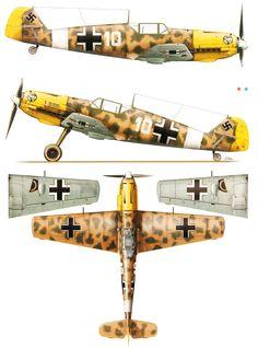 Messerschmitt Bf 109E7Trop 1.JG27 White 10 Gunther Steinhausen Libya 1941. Kagero top colors .