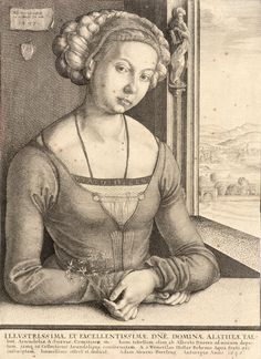 1497 Wenceslas_Hollar_-Woman with coiled hair, after Dürer tight front tucks below opening,with larger tucks / pleats at waist seam. Embellished chemise or under-dress.