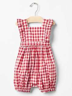 Gingham flutter shortie one-piece Product Image Frocks For Girls, Little Girl Dresses, Baby Dresses, Dress Girl, Baby Outfits, Baby Girl Fashion, Fashion Kids, Fashion Outfits, Baby Gap