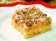 Pineapple Do Nothing Cake with Coconut & Pecans