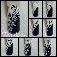 Black & White Free Hand Nail Art Floral Script work tutorial