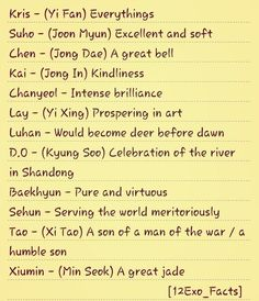 Twitter / 12Exo_Facts: #exofacts Meanings of Exo members ...