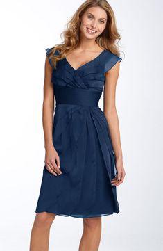Navy Blue V Neck Zipper Knee Length Column Mother Of Bride Dresses With Ruffles   $140 plus shipping fed ex usa