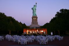 Outdoor concert at a Liberty Island wedding in NYC