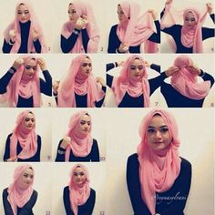 Want to know how to make hijab in different style at home. Then, here are the 9 best hijab styles step by step to make your own. Hijab Simple, Simple Hijab Tutorial, Hijab Style Tutorial, Islamic Fashion, Muslim Fashion, Hijab Fashion, Stylish Hijab, Hijab Chic, Beau Hijab