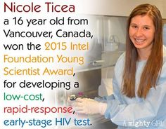 16-year-old Nicole Ticea has developed an early-stage HIV test that can provide rapid results using only a pinprick of blood.   Check out Ticea's story by @amightygirl at:  https://www.facebook.com/amightygirl/posts/915621205140860:0  #WomenCanDoAnything #HIV #ChangeTheWorld