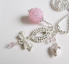 Pink charm necklace, by romanticcrafts, $15.00