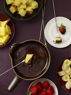 Raspberry-chocolate fondue makes a delish family fun night.