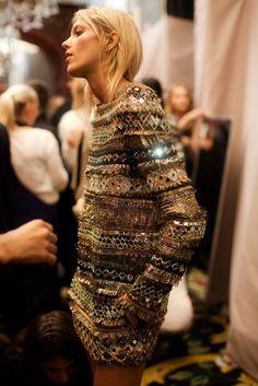 Image with Balmain. Pierre balmain, balmain embroidered and embellished knit dress, model anja rubik, balmain backstage, balmain paris fashion week.