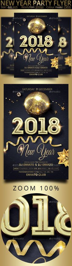 New Year Party Flyer — Photoshop PSD #bash #new year 2018 • Available here → https://graphicriver.net/item/new-year-party-flyer/20772387?ref=pxcr