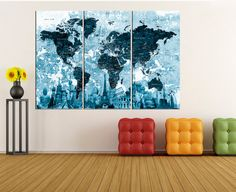 modern wall art push pin world map canvas by