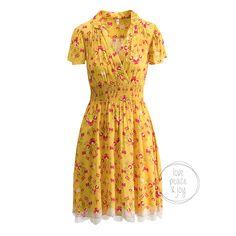 Blutsgeschwister jurk 'Sweet Mariandl' in geel met bloemetjesprint koop je eenvoudig en veilig online ✓ Persoonlijke service ✓ Duurzame verzending via Fietskoeriers