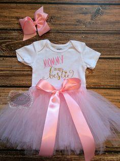 Baby Onesie Mommy Is My Bestie Tutu Set by KidzKlothezline on Etsy
