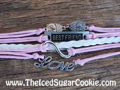 Best Friend Owl Love Infinity Bracelet Teen Girls Faux Pink Leather Women Jewelry