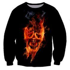 e9783e6695c6 3D Flame Skull sweatshirt cotton crew neck sweatshirts Skull Wallpaper