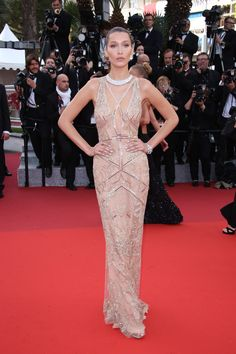 Bella Hadid in Cavalli Couture at Cafe Society Premiere at 2016 Cannes Film Festival