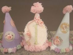 Shabby chic vintage baby kids children PARTY HATS by thisNthat1109, $10.00
