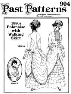 Past Patterns Victorian 1880s Polonaise With Walking Skirt Sewing Pattern 10 20 | eBay