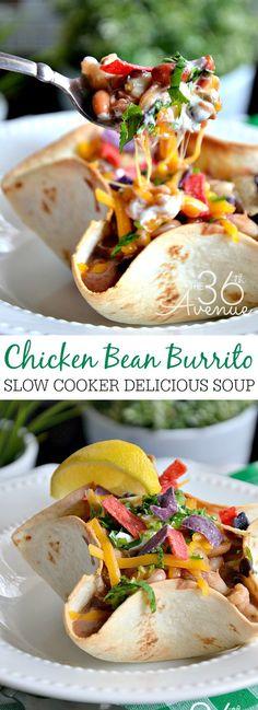 Slow Cooker Chicken Bean Burrito Soup the36thavenue.com