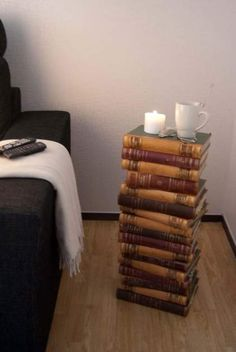 A furniture of old books. Manufactured using some glue. A fine idea, I think.