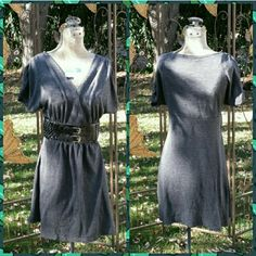 Gray Sweater Dress w/Belt Design This is a grey dress with belt on front, vneck, gathering at sleeves. Delerious  Dresses