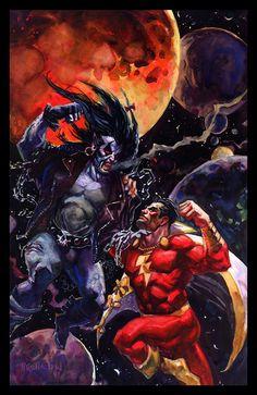 Lobo vs. Captain Marvel by Dan Brereton