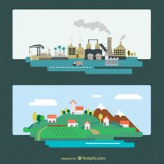 Industrial city and natural landscape vector by freebiespsd on DeviantArt