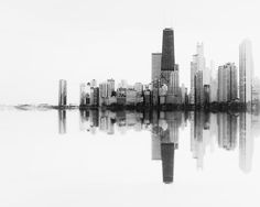 An abstract photograph of the beautiful Chicago skyline. Chicago has a sound of it's own. Stand next to the lake and take in the breathtaking skyline and you will hear the music. Chicago Skyline Tattoo, Black And White Landscape, Black And White Abstract, Black White, Chicago Photography, White Photography, Oversized Wall Art, Chicago Art, Landscape Photography