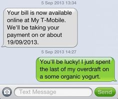 text message sent to t-mobile highlighting my middle class issues