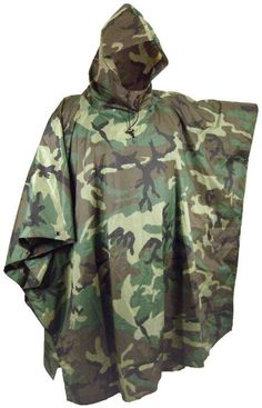 US GI MILITARY ISSUE BDU WOODLAND CAMOUFLAGE WET WEATHER RAIN PONCHO USMC ARMY
